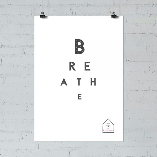 Breathe poster black & white