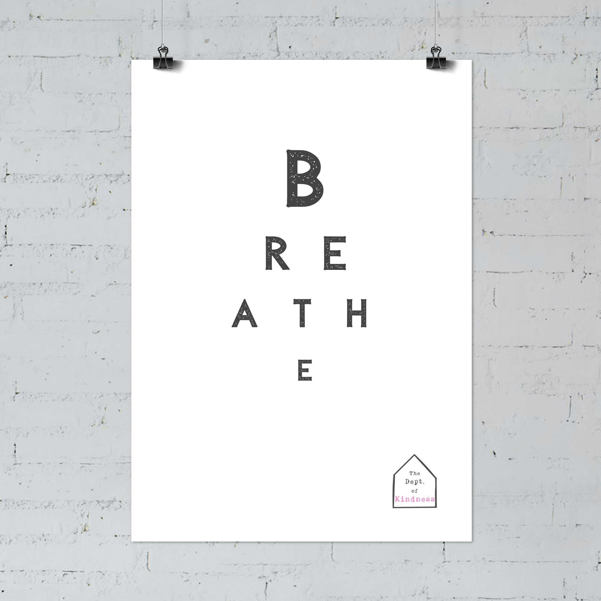 Breathe poster black & white