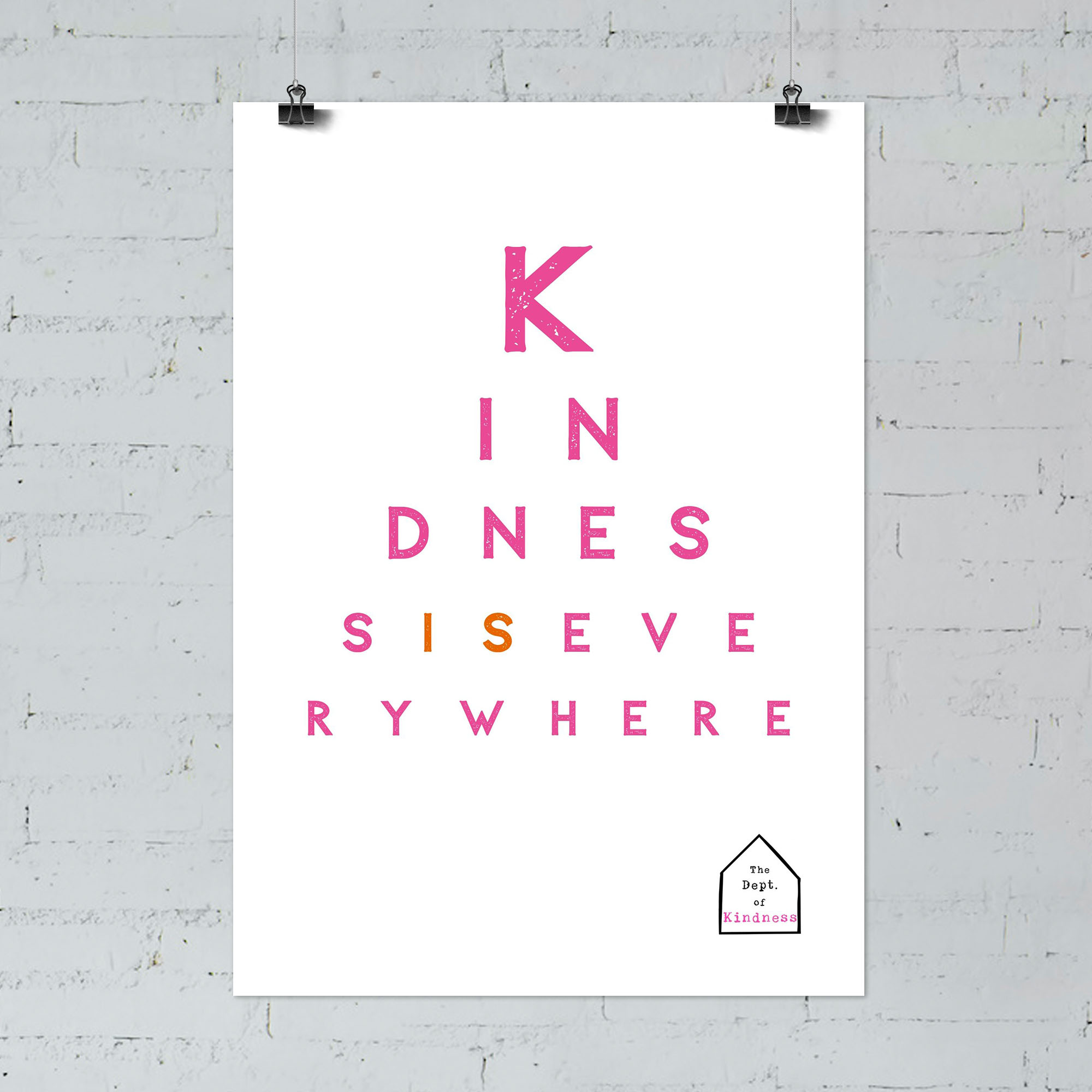 Kindness is Everywhere poster, pink & orange
