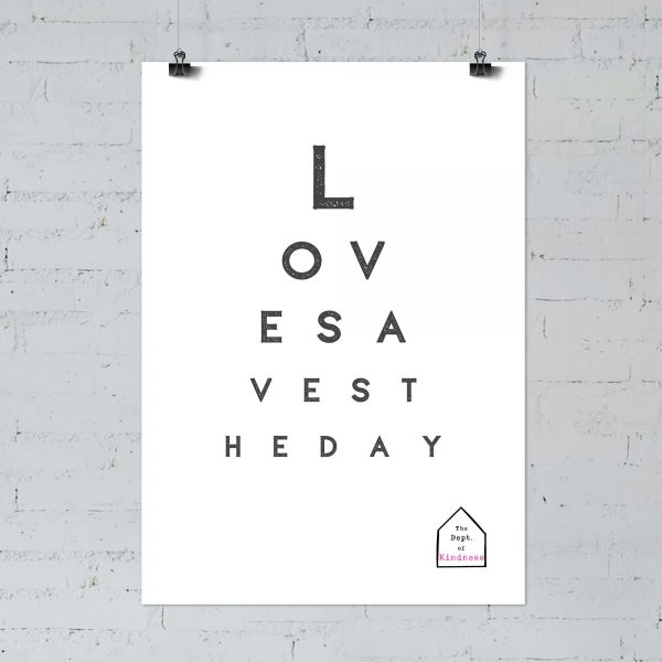 Love saves the day poster, black & white