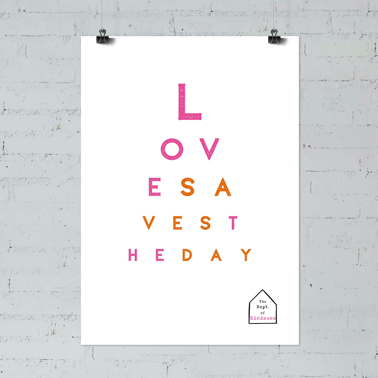 Love saves the day poster, pink & orange